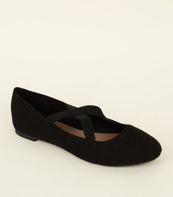 Wide Fit Black Suedette Cross Strap Ballet Pumps