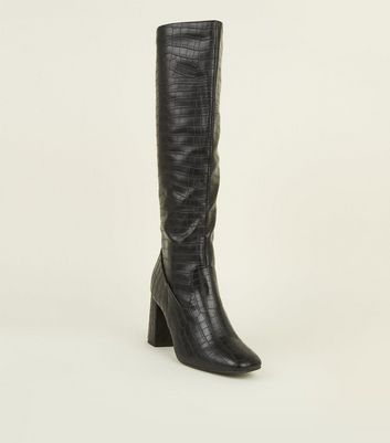 Black Faux Croc High Leg Heeled Boots