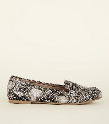 Wide Fit Brown Faux Snakeskin Loafers