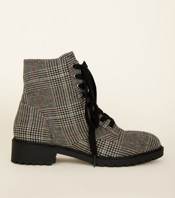 Black Check Print Lace-Up Chunky Boots