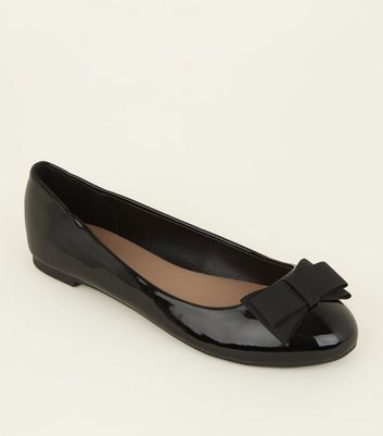 Wide Fit Black Patent Bow Ballet Pumps by New Look