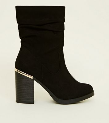 Black Suedette Metal Heel Trim Calf Boots by New Look