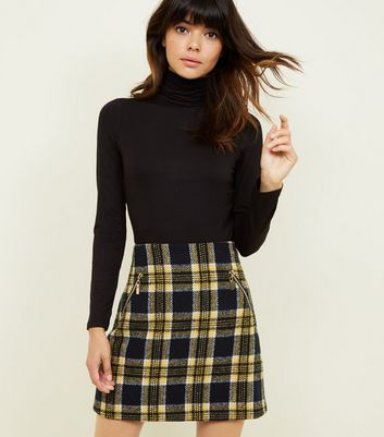 Blue Vanilla Yellow Check Mini Skirt