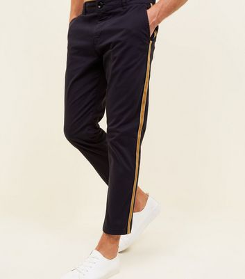 Navy Side Stripe Tapered Chinos