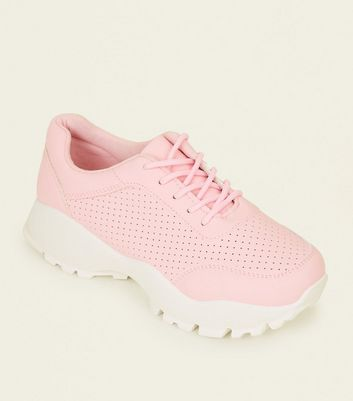Pink Perforated Lace Up Chunky Trainers by New Look
