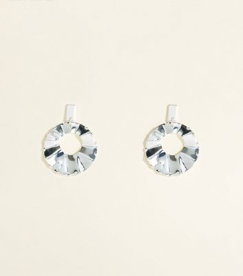 Silver Pleated Disc Earrings