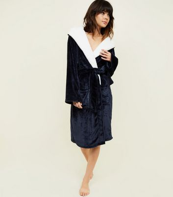 Shoptagr | Dark Grey Hooded Borg Dressing Gown by New Look