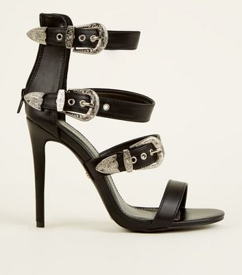 Black Leather-Look Western Buckle Strap Stilettos