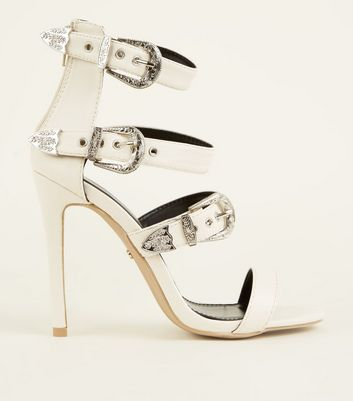 White Leather-Look Western Buckle Strap Stilettos