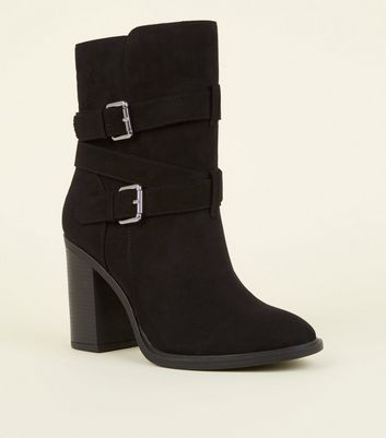 Wide Fit Black Suedette Buckle High Leg Boots by New Look
