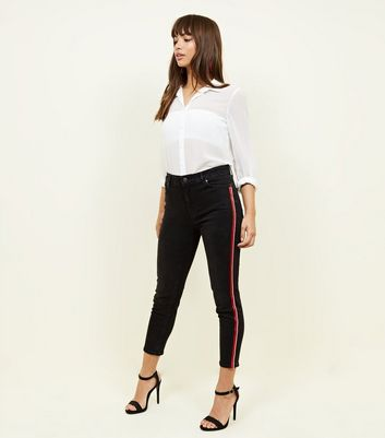 Black Bead Side Stripe Skinny Jenna Jeans by New Look