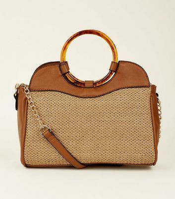 Tan Woven Straw Ring Handle Shoulder Bag
