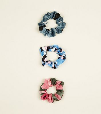 3 Pack Multicoloured Camo Print Scrunchies