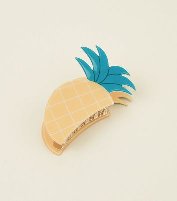 Pince à cheveux design ananas orange