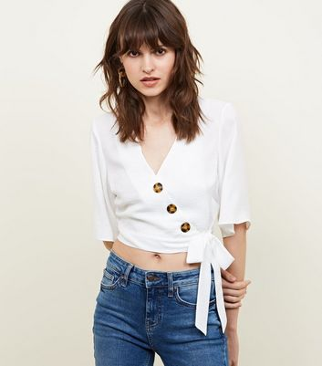 Off White Button Tie Side Wrap Front Top