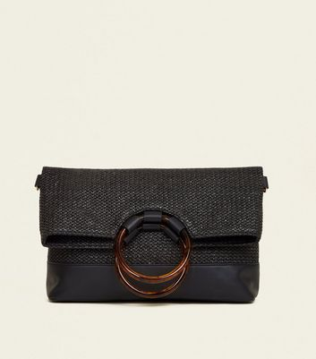Black Round Resin Handle Straw Foldover Bag