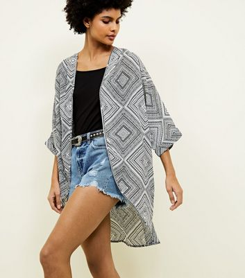 Blue Vanilla Black Aztec Pattern Kimono by New Look