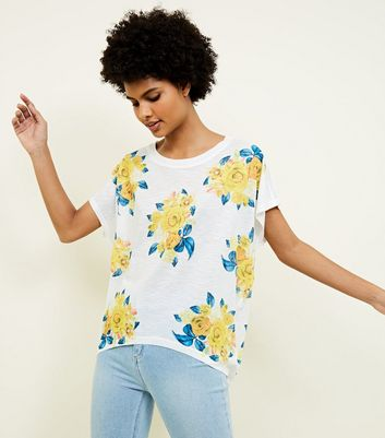Blue Vanilla White and Mustard Rose Print Frill Sleeve Top