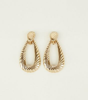 Gold Embossed Swirl Teardrop Earrings