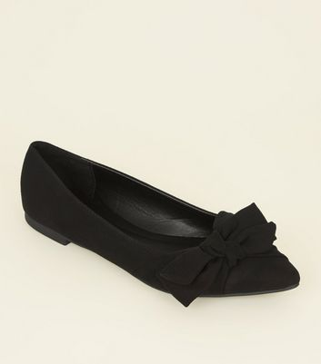 Black Suedette Bow Pointed Ballet Pumps by New Look
