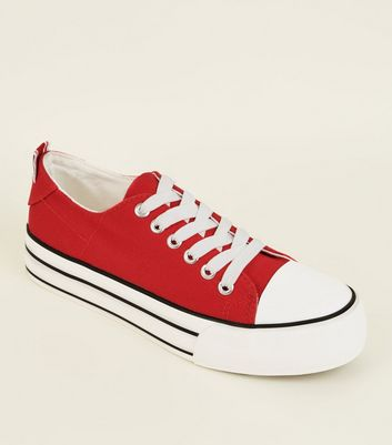 Red Canvas Stripe Platform Sole Trainers