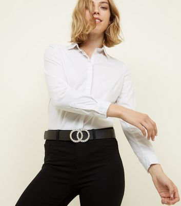 Black Faux Pearl Double Circle Buckle Belt by New Look