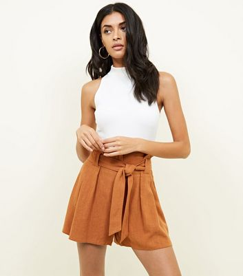 Rust Linen-Look Tie Waist Shorts
