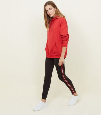 Black and Red Tape Side Stripe Leggings