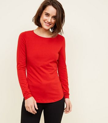 Red Long Sleeve Crew Neck T-Shirt