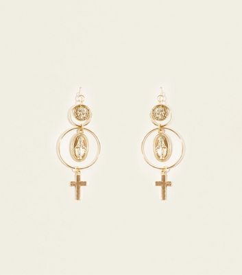 Gold Coin and Cross Hoop Earrings