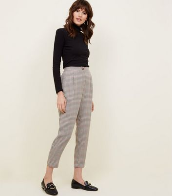 Brown Check Button Pull-On Trousers