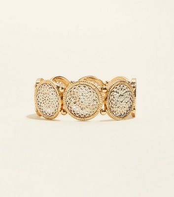 Gold Filigree Disc Stretch Bracelet