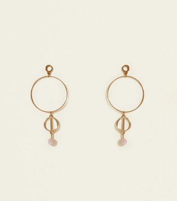 Gold Linked Loop Beaded Earrings