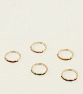 5 Pack Multi Colour Crystal Embellished Rings