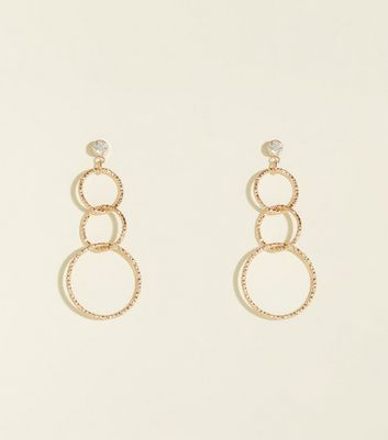 Gold Textured Chain Link Earrings
