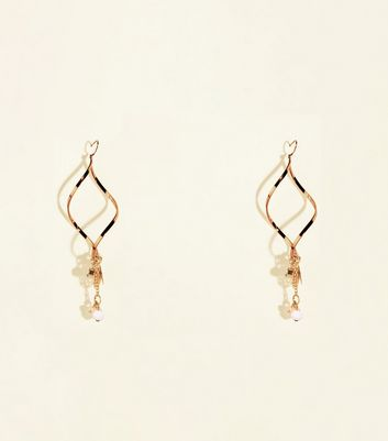 Gold Twist Charm Drop Earrings
