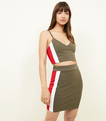 Khaki Stripe Side Skirt
