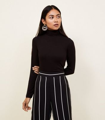 Petite Black Roll Neck Top