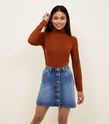 Petite Rust Roll Neck Top