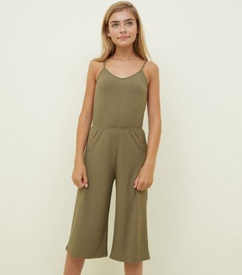 Girls Khaki Ribbed Strappy Jumpsuit