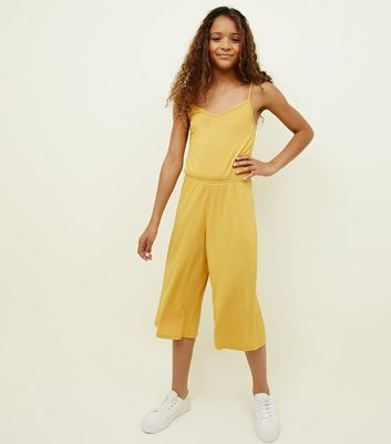 Girls Mustard Ribbed Strappy Jumpsuit