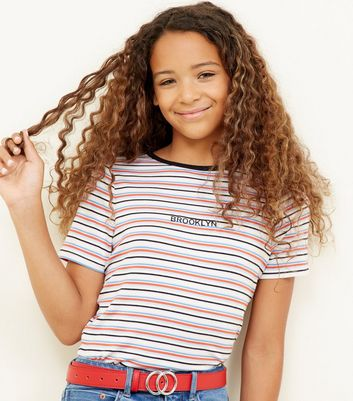 Teens Multi Coloured Stripe Brooklyn Embroidered T-Shirt