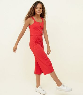 Girls Red Ribbed Button Front Jumpsuit