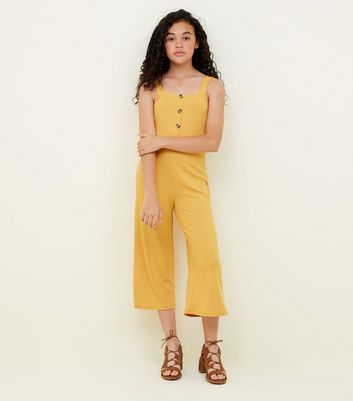 Girls Mustard Ribbed Button Front Jumpsuit