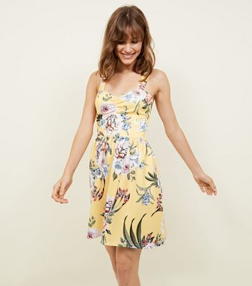 Cameo Rose Yellow Floral Bustier Dress