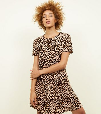 Brown Animal Print Swing Dress