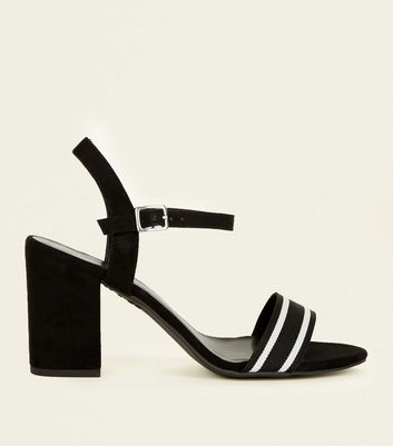 Wide Fit Black Suedette Stripe Strap Block Heels by New Look