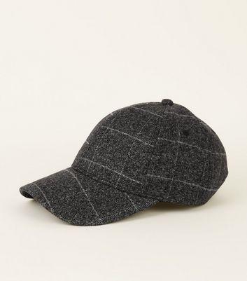 Grey White Line Check All-Over Cap