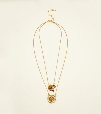 Gold Rose and Coin Pendant Layered Necklace