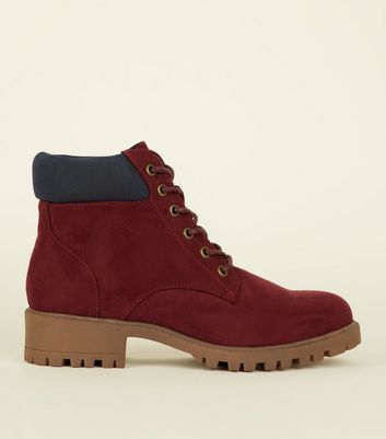 Girls Dark Red Suedette Worker Boots